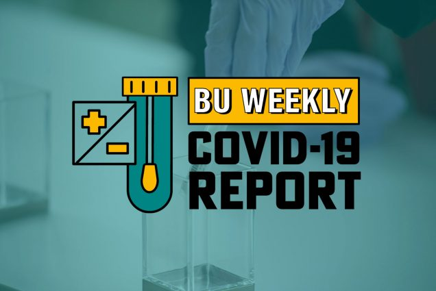 Boston University Weekly COVID-19 Report logo over background photo of a gloved handling a COVID-19 testing swab
