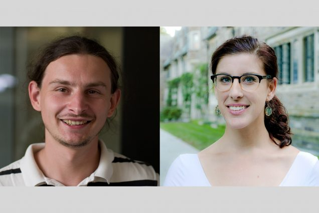 Composite image of headshots of Krzysztof Onak (left) and Kate Lindsey, whose research, respectively, is in artificial intelligence algorithms and vanishing global languages, are the recipients of two new Career Development Professorships. Onak smiles, has long curly hair that's pulled back, and wears a blue and white stripped polo. Lindsey stands outside, smiles, and wears a white blouse.