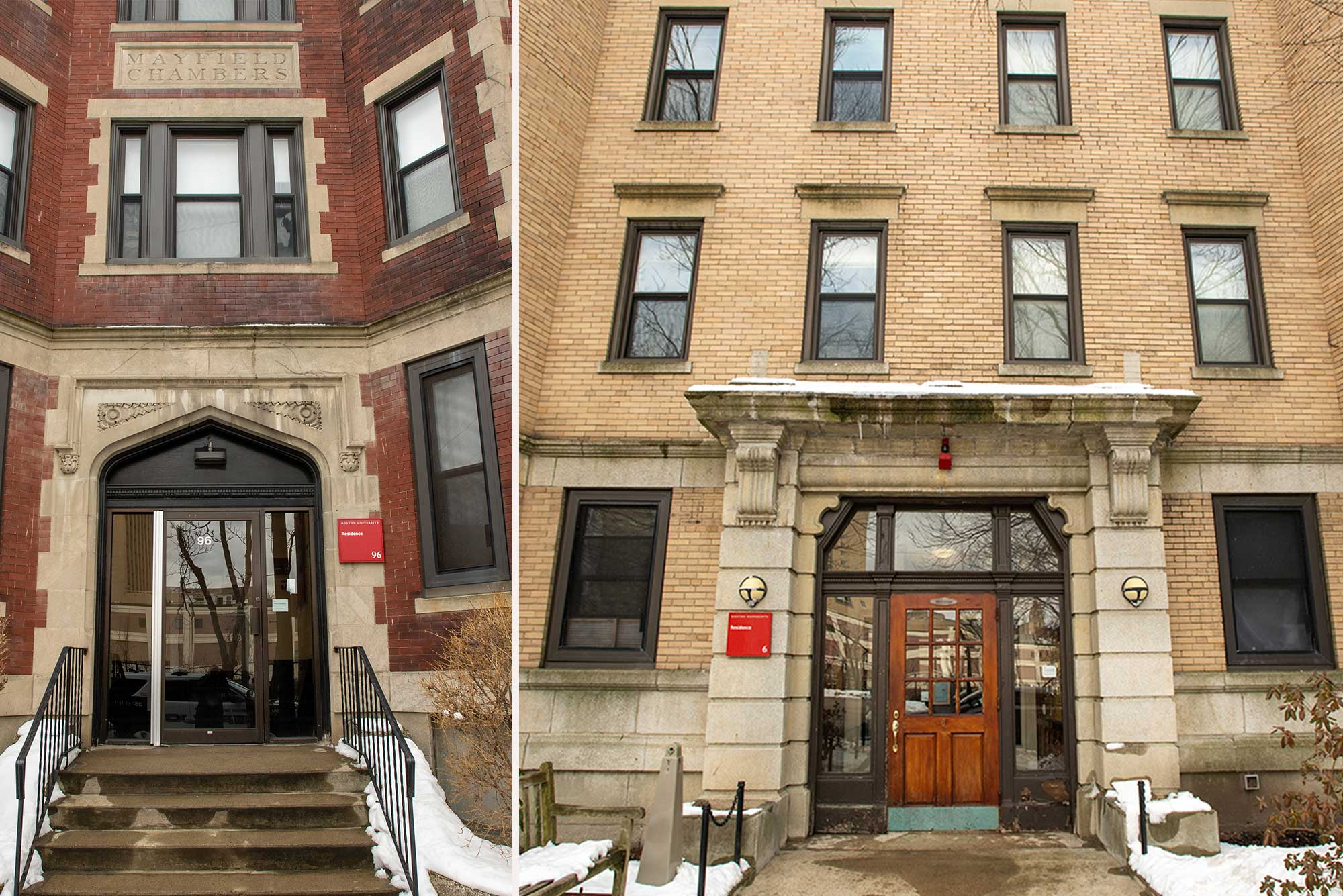 Composite image of two exterior shots of the buildings at 96 Montford and 6 Buswell Streets. 96 Montford, at right, looks like an early 20th century building made of brick with cement trim and steps leading up to the door. 6 Buswell has a tan brick exterior and a wooden front door. There's snow on the ground to the left and right of the sidewalks.