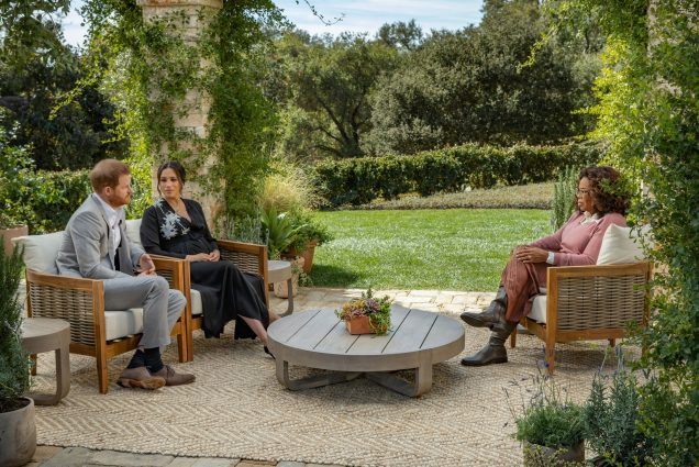 A photo of Prince Harry and Meghan Markle during their interview with Oprah Winfrey