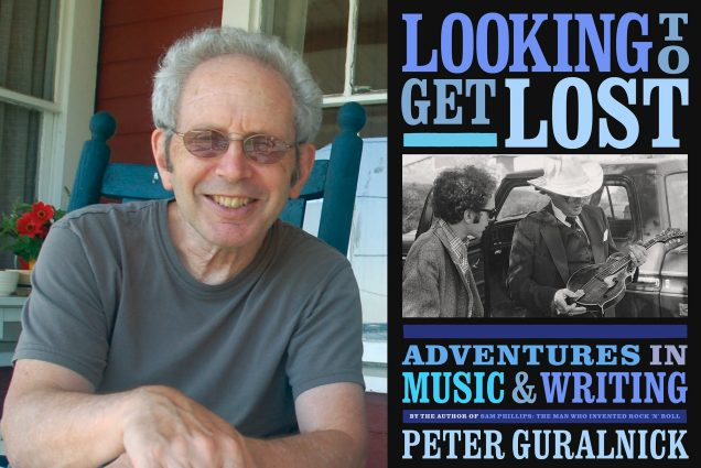 "Composite image, photo of Peter Guralnick with glasses on sitting in a teal rocking chair on a porch, next to the book cover for ""Looking to Get Lost: Adventures in Music & Writing"" with a photo of Bob Dylan and a man in a cowboy hate that looks at an acoustic electric guitar."