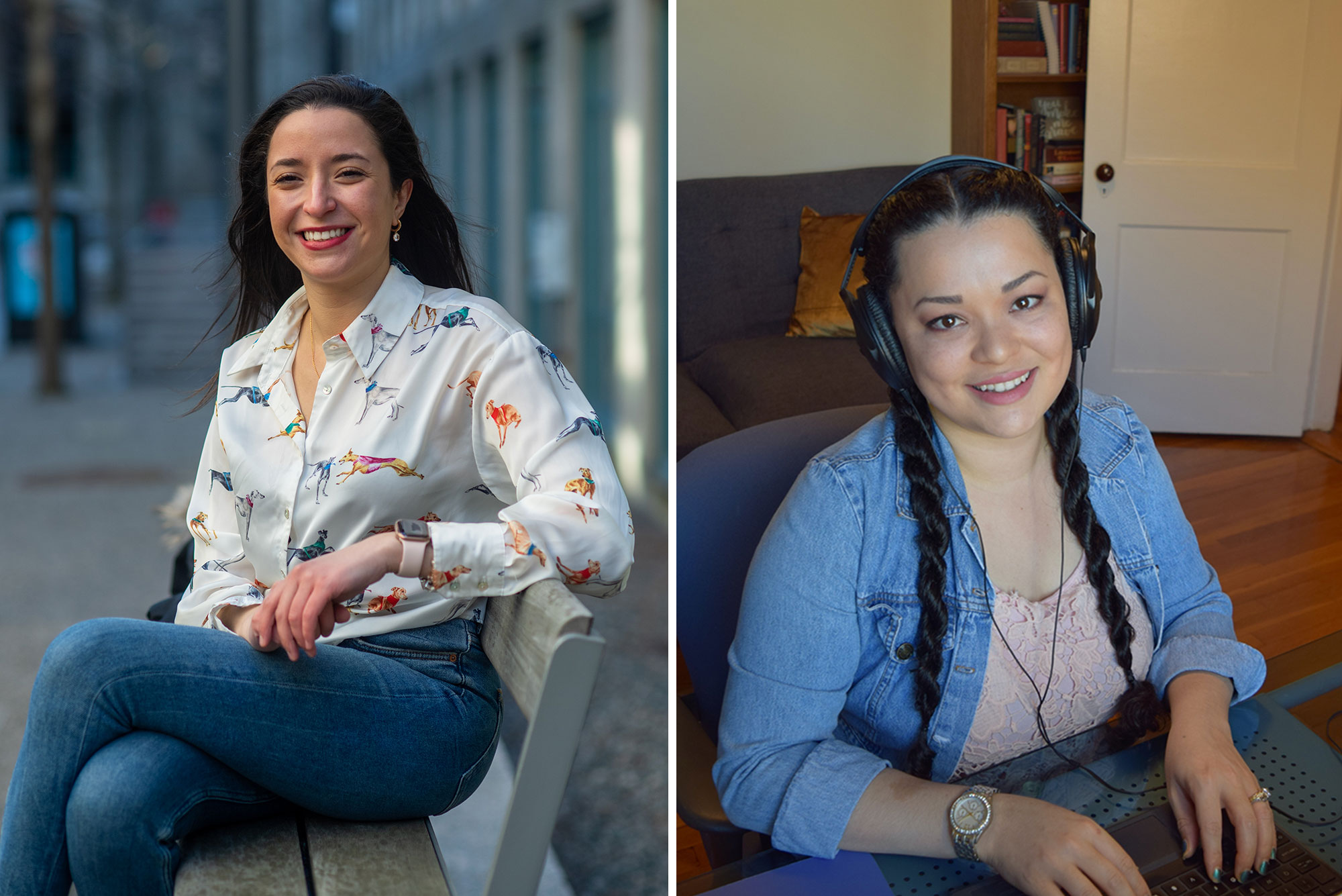 Composite image of Vitamin PhD podcast hosts. At left, Khadija El Karfi, sits on a bench in jeans and a pattern blouse. At right, Kiloni Quiles-Franco, wears headphone and appears to be working on her computer inside her home.