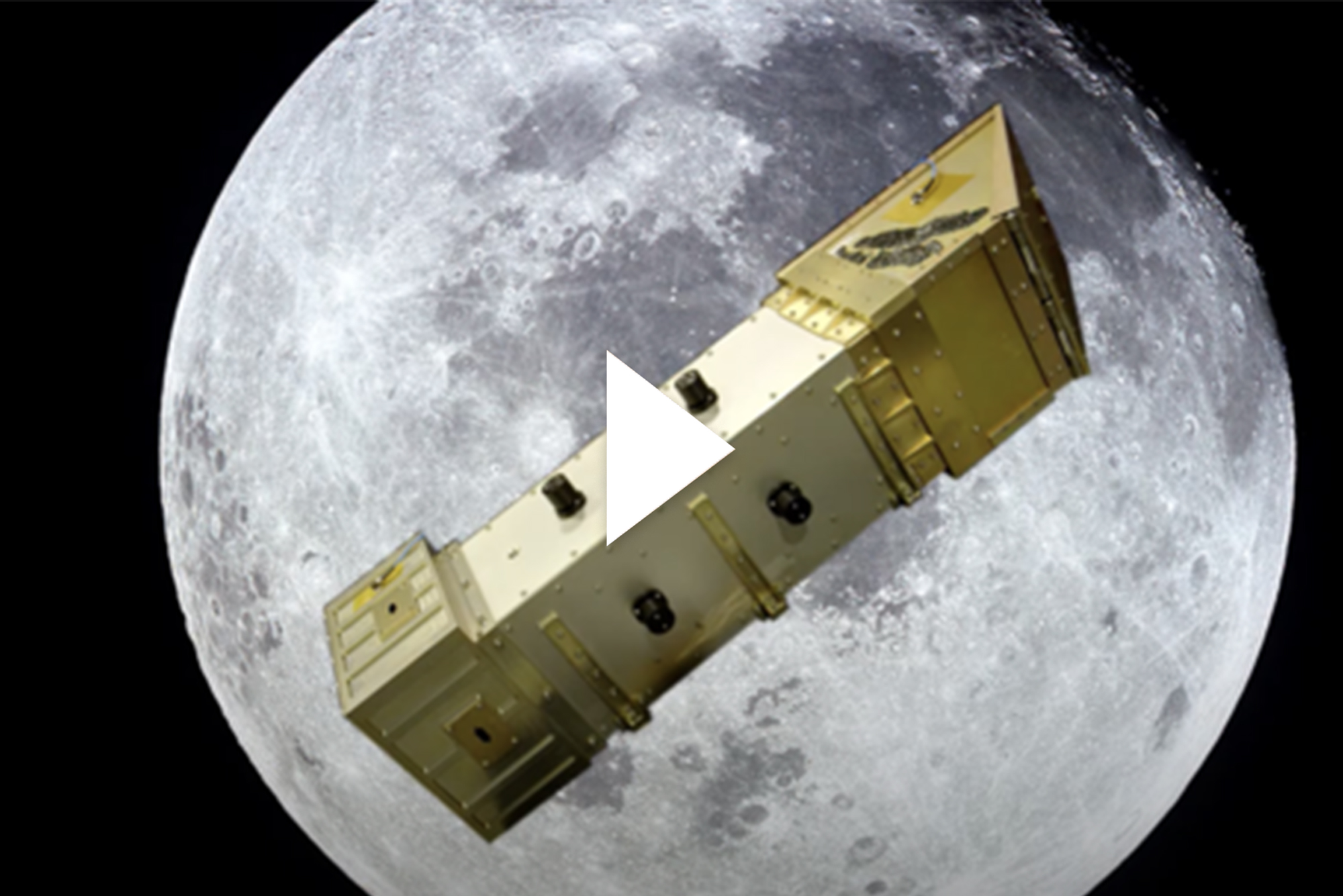 A photo of the LEXI telescope in front of a full moon. A video play button is overlayed.