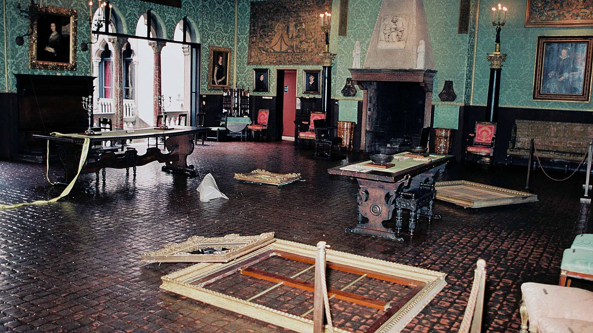 A photo of the crime scene at the Isabella Stewart Gardner Museum