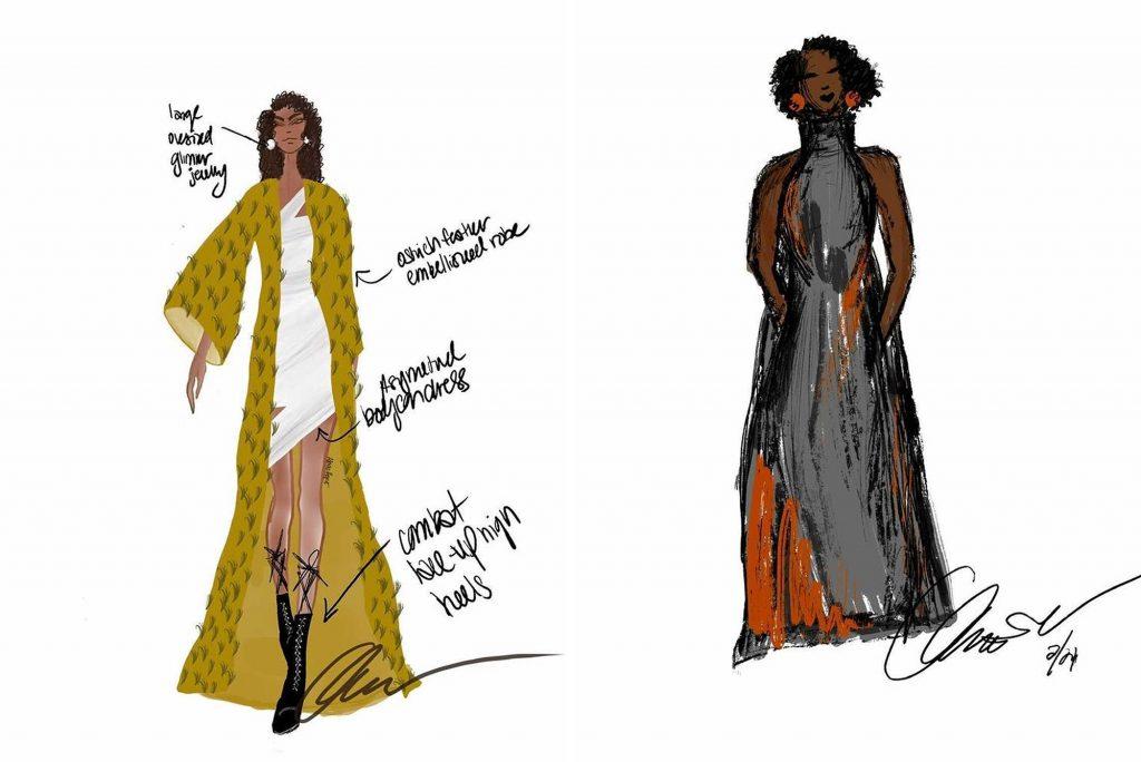 Two of Abiola Agoro's digital design sketches
