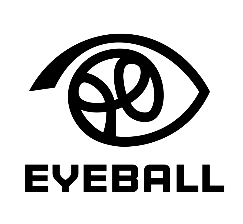 Logo for Eyeball, with a line drawing featuring a basketball drawn inside the cornea of the outline of an eye.