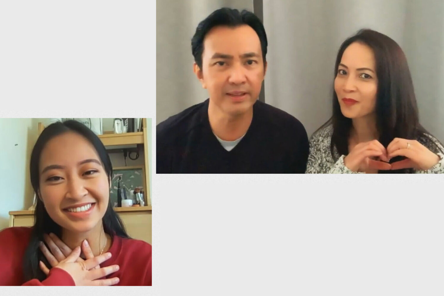 Screenshots of Chloe Torres (Questrom'21) and her parents in California, taken as Chloe watches the video sent in by her parents. Chloe brings her hands to her chest and smiles, and her mom makes a shape of a heart with her hands.