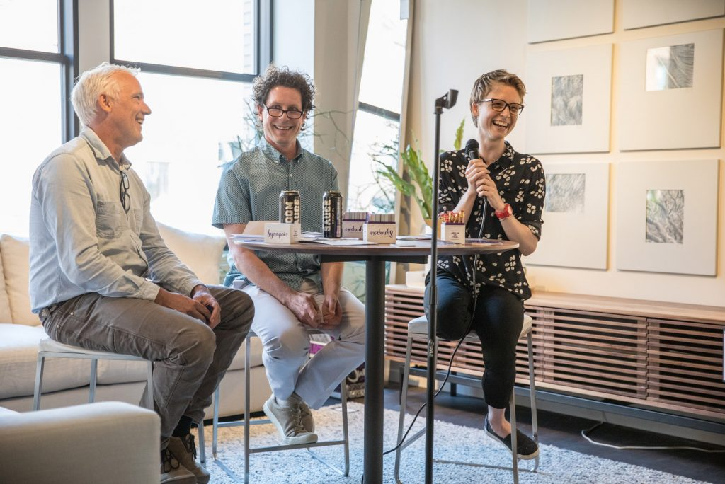 A panel of authors (left to right), Tim Weed, Ethan Gilsdorf, and Molly Booth, engage with one another and their audience during the 2019 Lit Crawl Boston.
