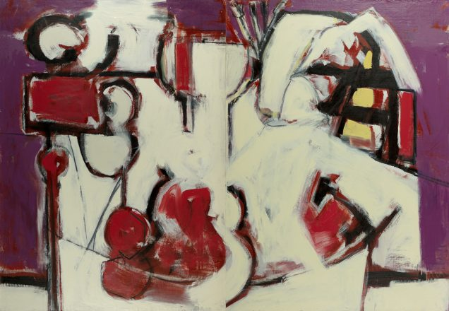 "Mordecai's painting, ""The Sign 3, 2020, 52"" x 76"" oil, graphite, charcoal canvas glued to panel. It is red, violet, and white, white abstract shapes that resemble a wine glass and violin."