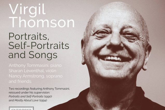 "Album cover for ""Portraits, Self-Portraits and Songs"" a new CD reissue. A black and white photo of Virgil Thompson is on the right."