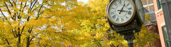 decorative image photography of BU Medical School campus clock with yellow autumn leaves behind the clock