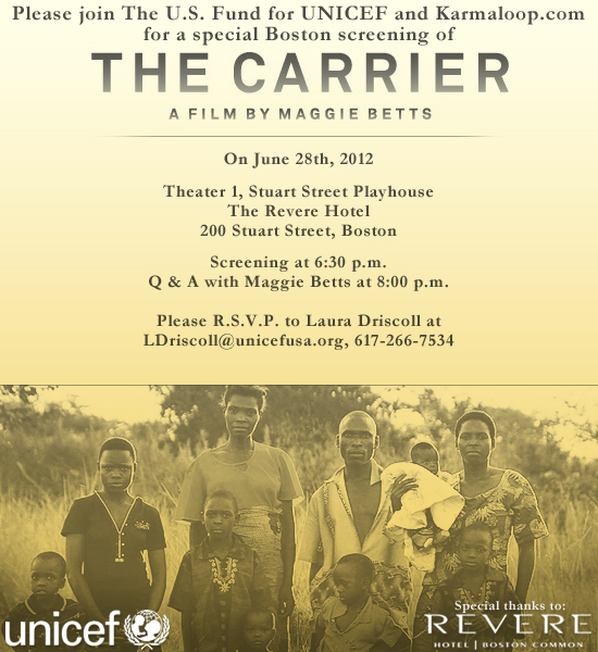 UNICEFs The Carrier A film screening on June 28th at The Revere