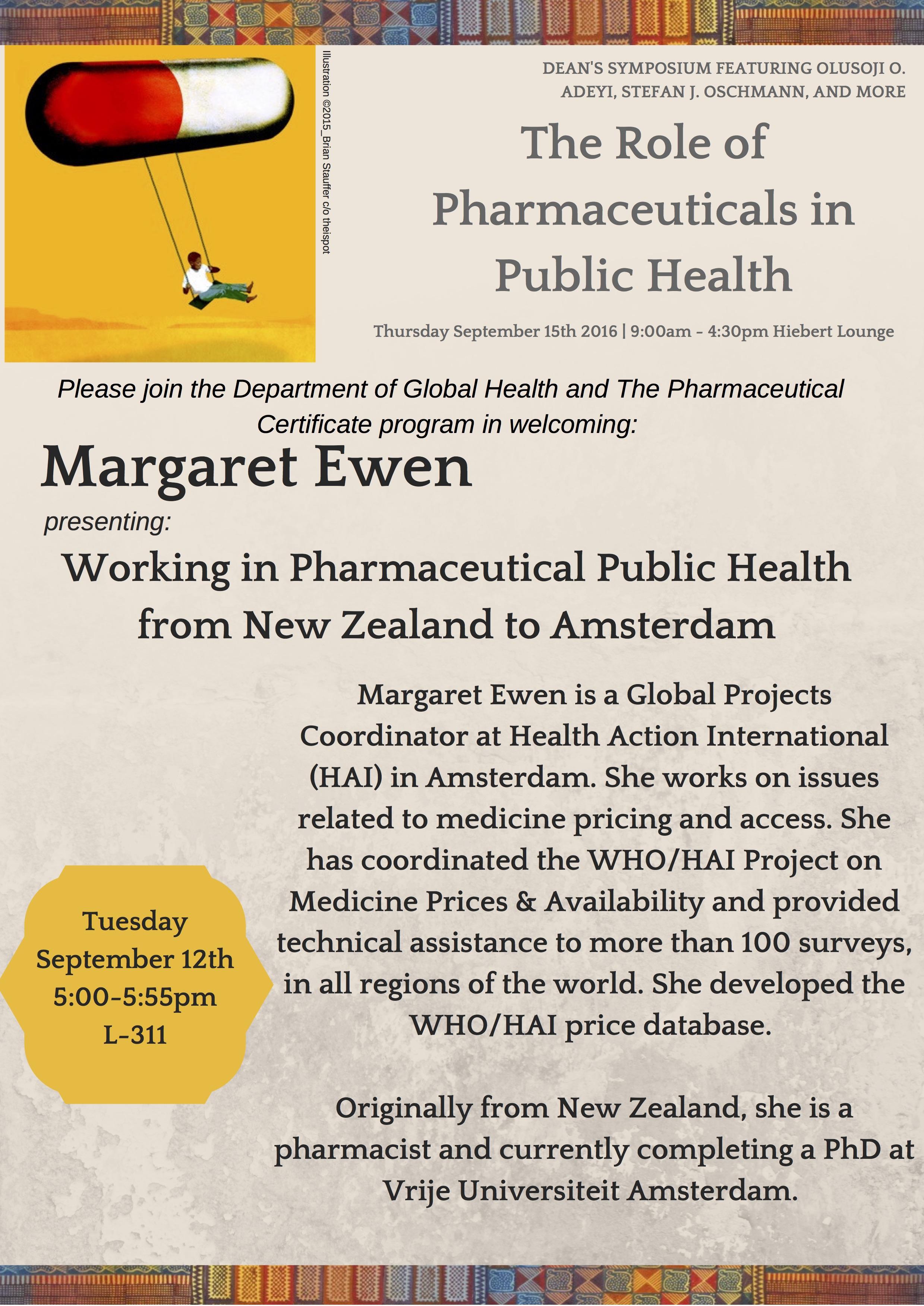 Margaret Ewen Presents Working In Pharmaceutical Public Health From