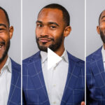 A triptych of photos of Johnathan Allen smiling and laughing. A white video play button is overlayed.
