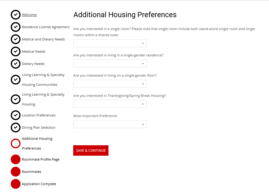 Additional Housing Preferences