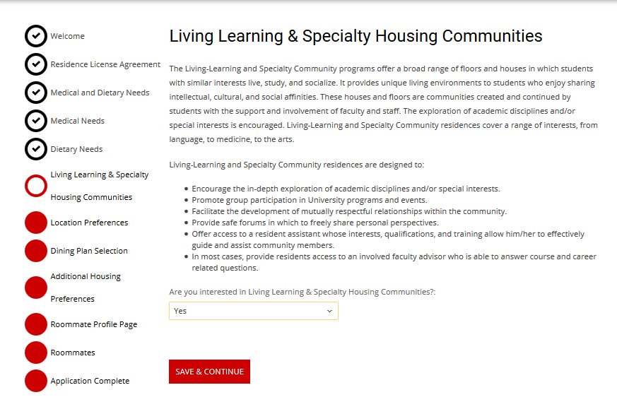 Living Learning & Specialty Housing Communities