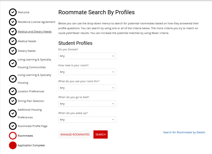 Roommate Search By Profiles