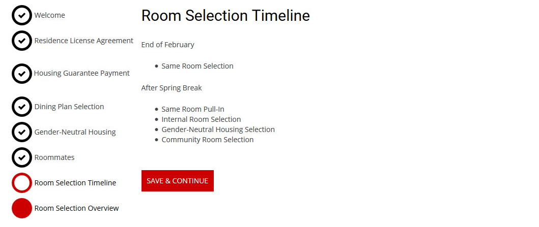 Room Selection Timeline