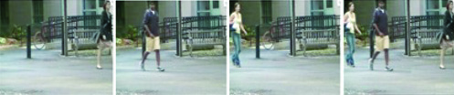 Three frames from the original video show three different pedestrians whereas a condensed frame on the right shows the three pedestrians simultaneously thus allowing fast video browsing.