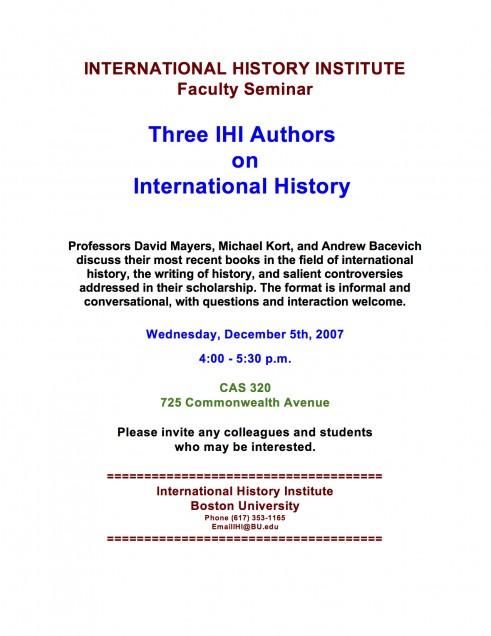 2007 Three Authors Mayers Kort Bacevich International