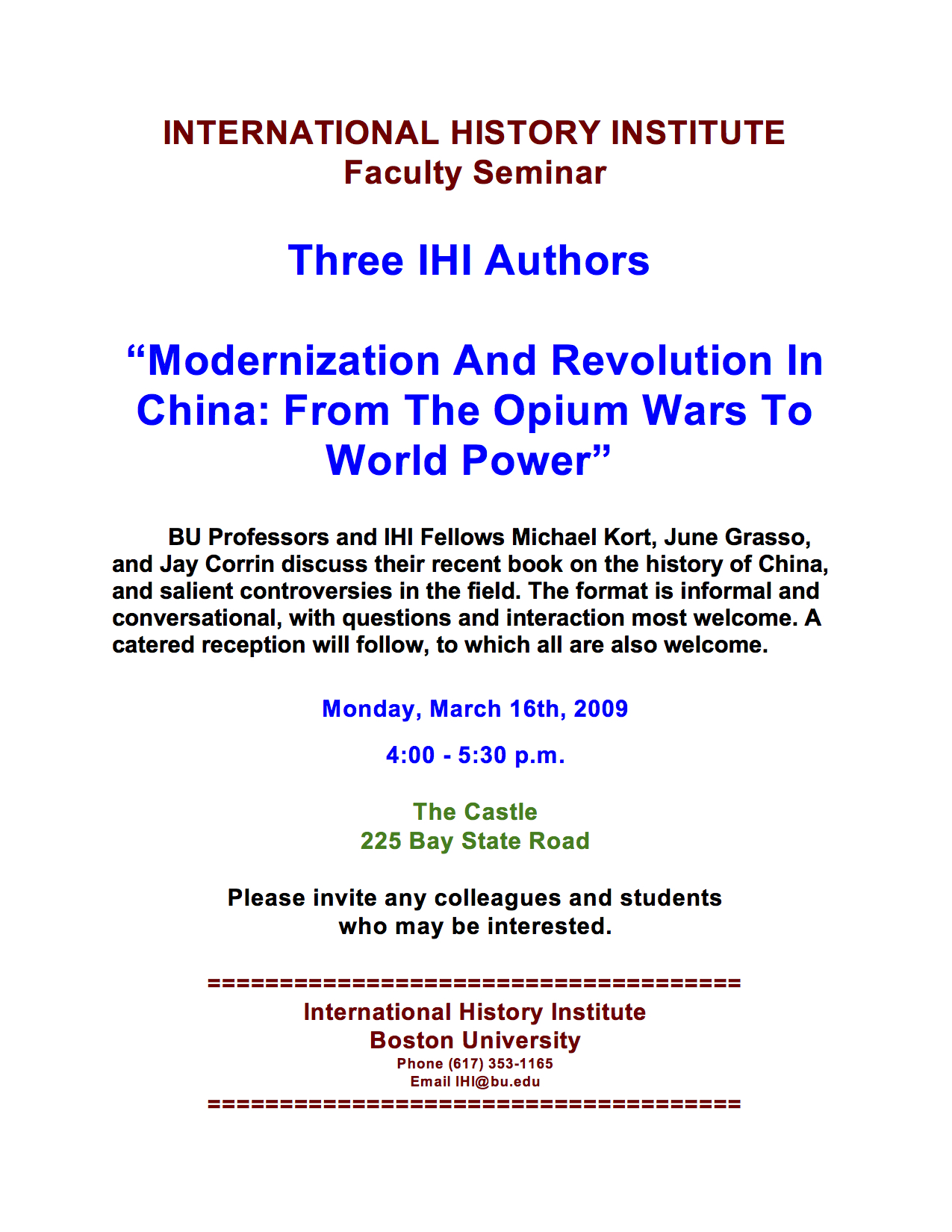 2009 Three Authors On Modernization And Revolution In China Kort