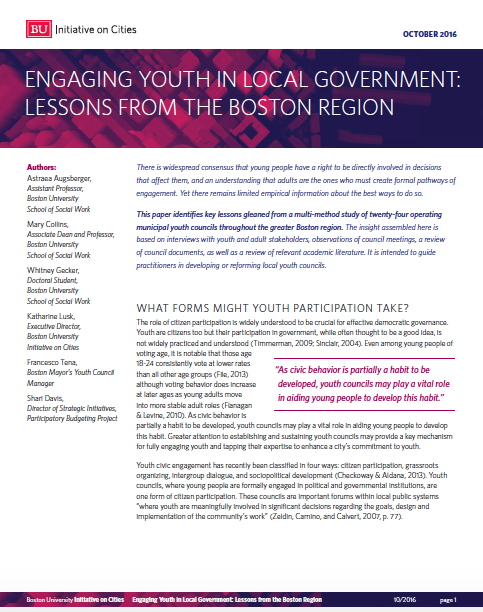 IOC Publishes White Paper: Engaging Youth in Local Government