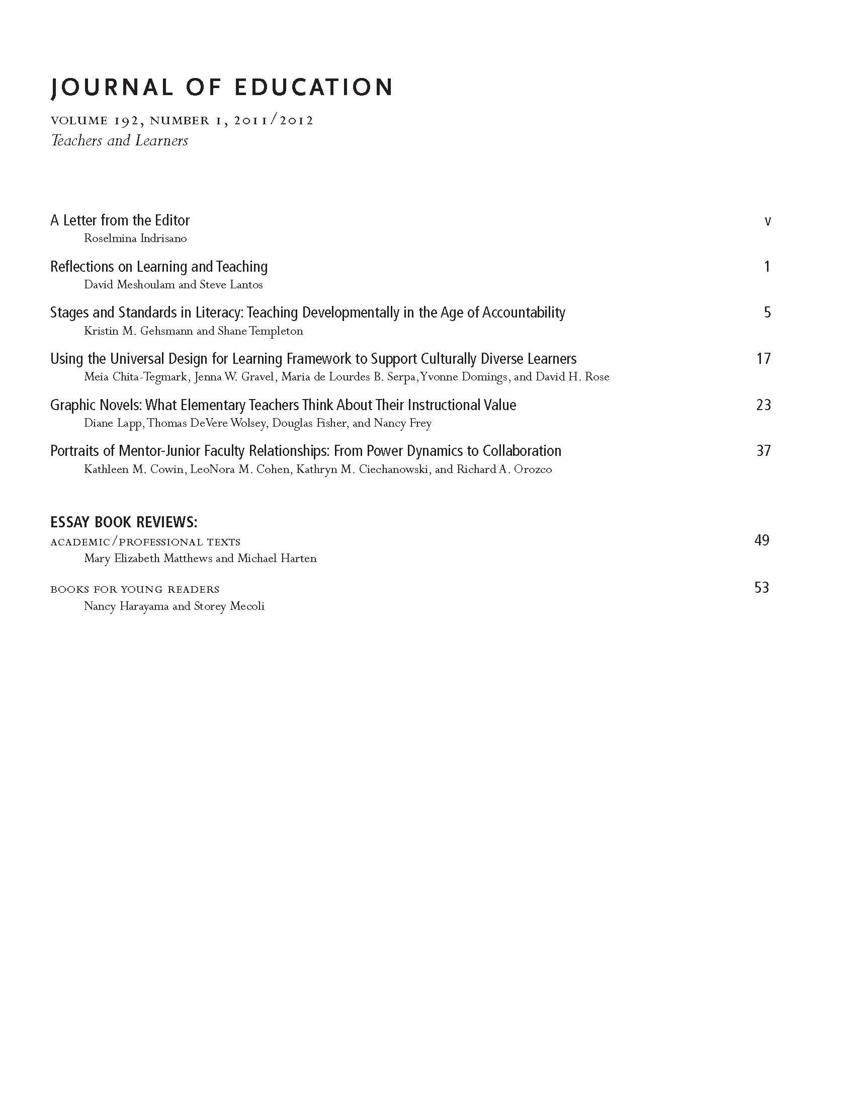 Volume 192, 2011-2012 » Journal of Education | Boston University