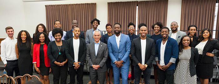 Kevin Smith ('18) and other winners of the Pitch Black competition with Mayor Rahm Emmanuel and Dwayne Wade