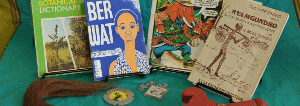Image of books and objects from the African Studies Library collection