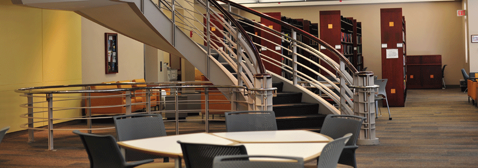 Image of the Pardee Management Library seating and stacks