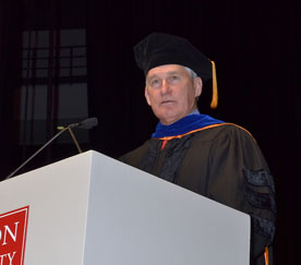Dr. Andrew Bacevich giving MET's 2014 commencement address