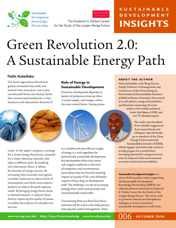 sustainable development insights no the  green revolution 2 0 a sustainable energy path