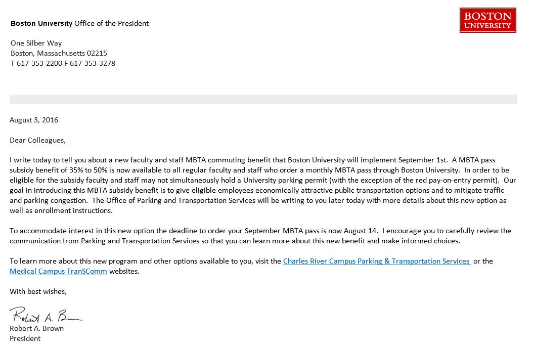 employee mbta pass benefit parking transportation services