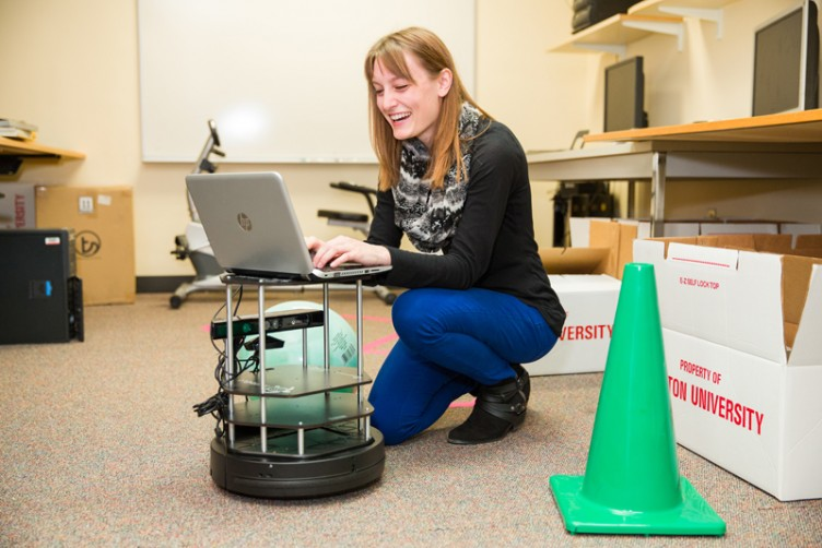 "A UROP student has coded a robot that can ""think"" on its own, moving about and avoiding obstacles without a human steering it."