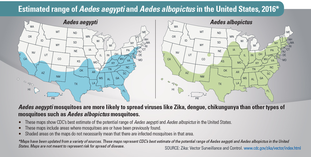 Estimated range of Aedes aegypti and Aedes albopictus mosquitoes