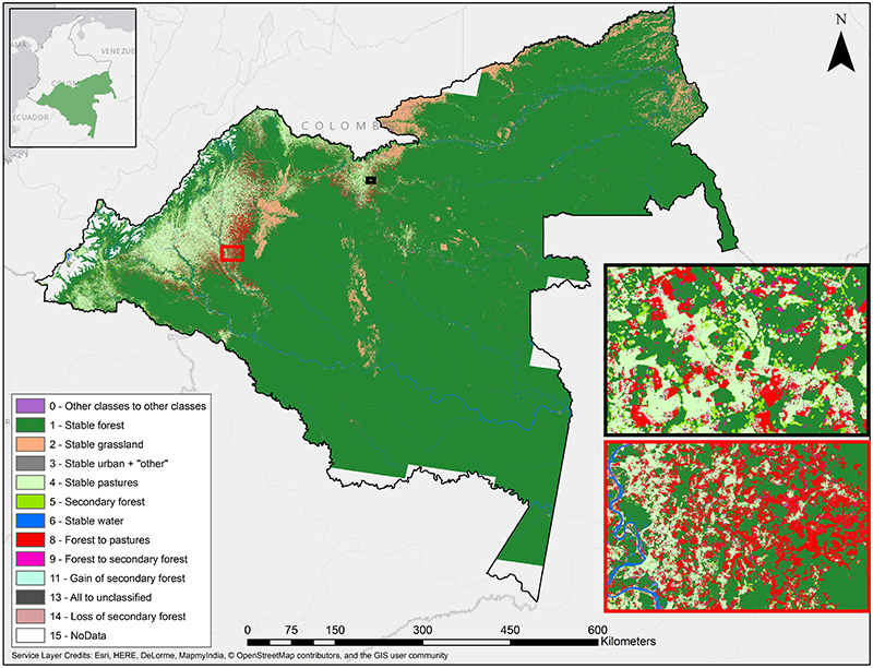 satellite map showing deforestation in colombia