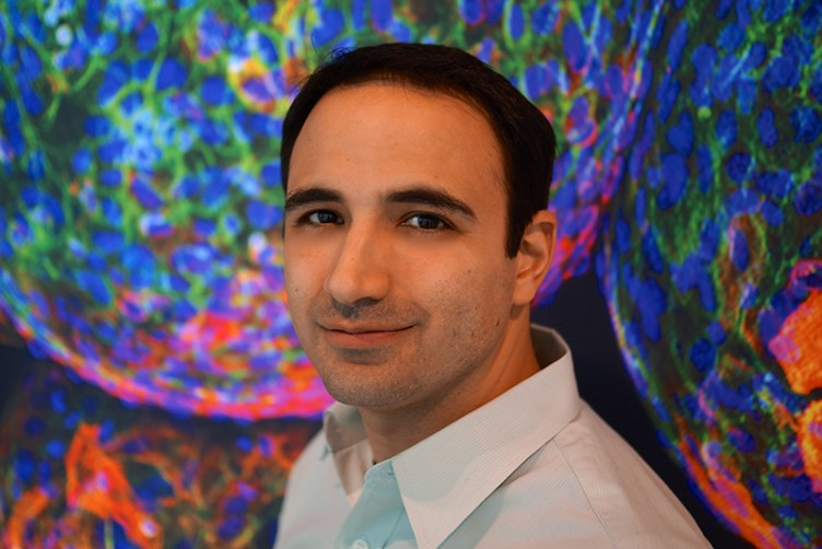 Arturo Vegas, Boston University College of Arts & Sciences assistant professor of chemistry, whose lab combines biology, chemistry, materials science, and engineering to develop targeted therapies for complex diseases like diabetes