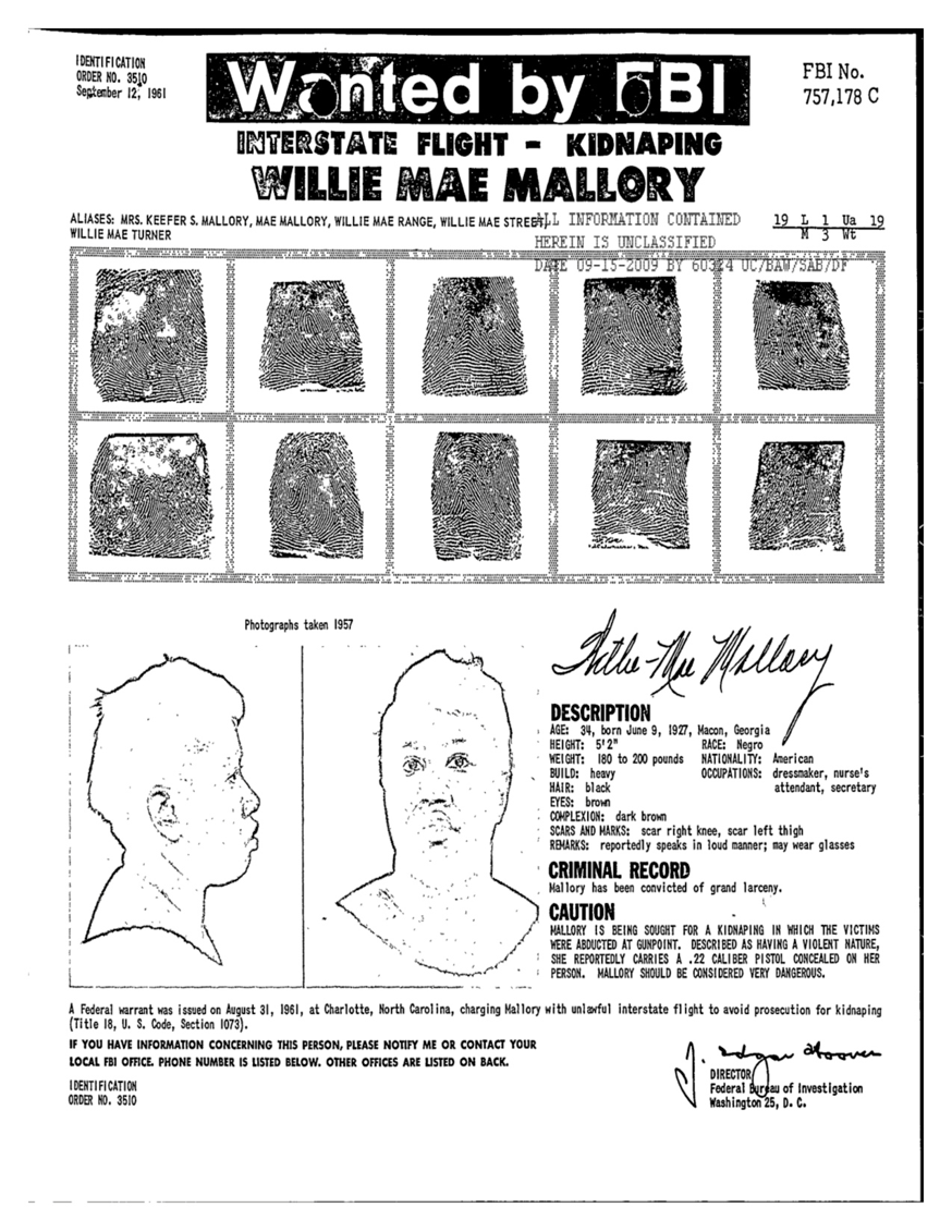 FBI wanted document for Mae Mallory