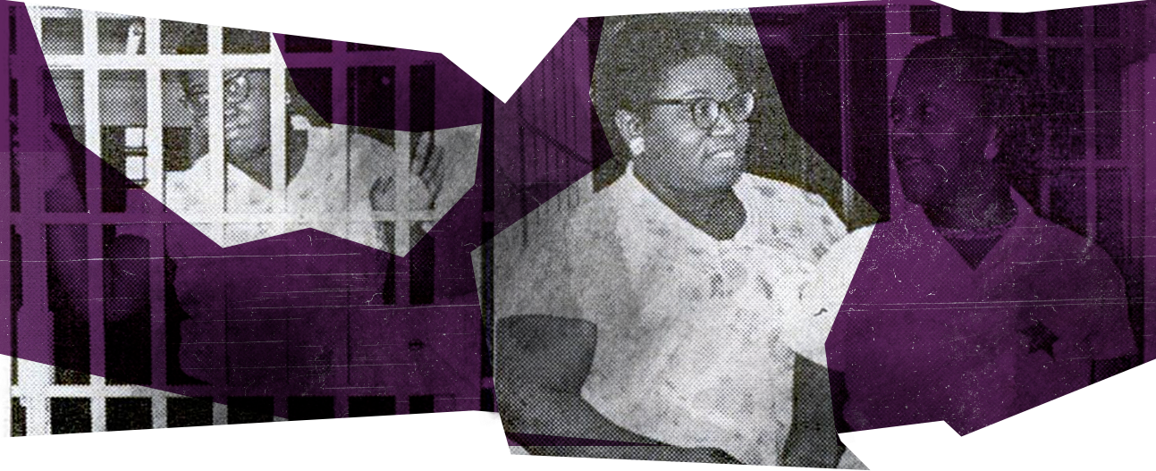 Mae Mallory in her cell(left), awaiting extradition after being falsely accused. Being released from prison(right).