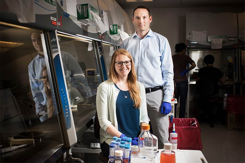 Finn Hawkins and Katherine McCauley, researchers at Boston University Center for Regenerative Medicine CReM