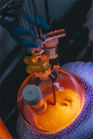 Dennis' lab is creating quantum dots with multiple materials and several layers, trying to build non-toxic materials with unique optical properties.