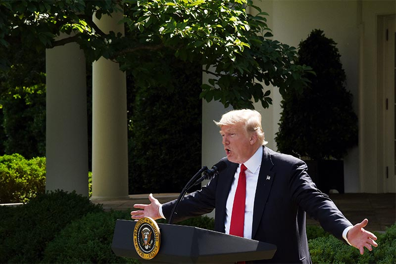 Donald Trump makes and announcement in the White House Rose Garden that the United States would withdraw from the Paris climate accord