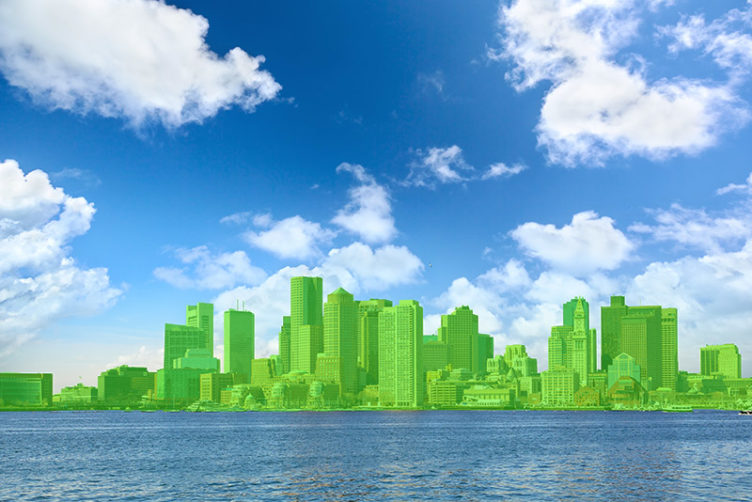Green-colored rendering of Boston skyline