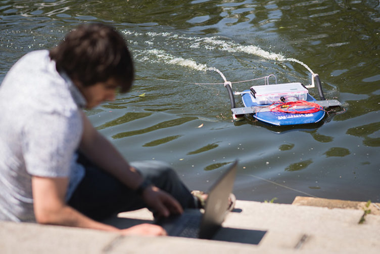 drug-trafficking robot boat on the water