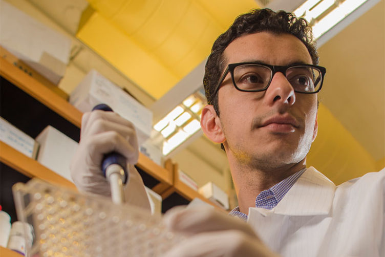 "Synthetic biology researcher Ahmad ""Mo"" Khalil, assistant professor of biological engineering at Boston University, and researcher at the Boston University Biological Design Center"