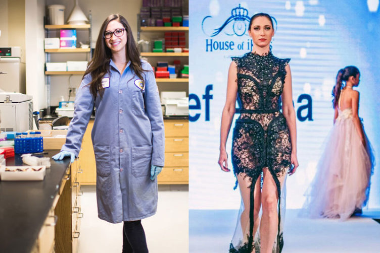 BU postdoctoral researcher Susan Finkbeiner in her lab, and on the runway during London Fashion Week in September. Left photo by Jackie Ricciardi. Right photo courtesy of Finkbeiner