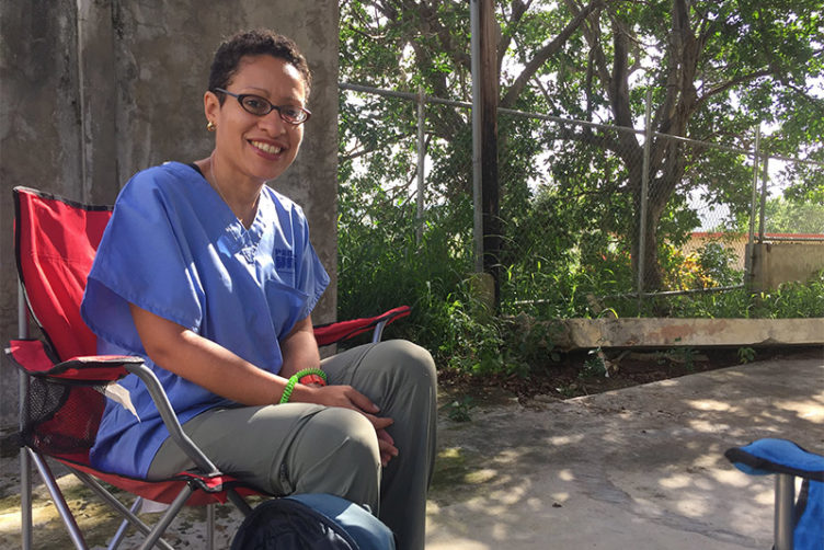Boston Medical Center psychiatrist Lisa Fortuna during a Project Hope trip to Puerto Rico in the aftermath of Hurricane Maria
