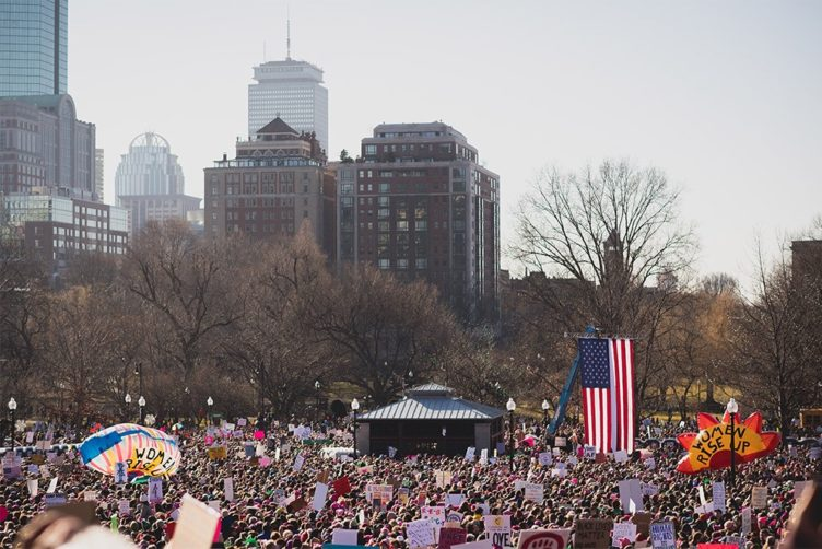 The Boston portion of the Women's March drew a crowd estimated at 175,000 people. Photo by Jackie Ricciardi