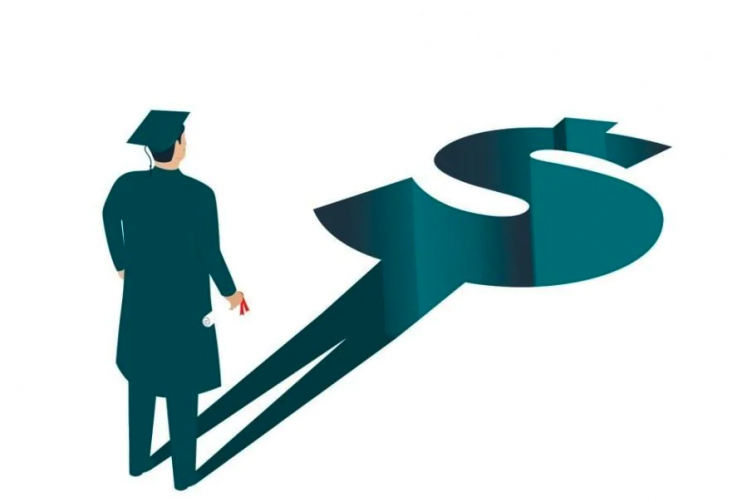 illustration of a college graduate staring at his shadow which is in the shape of a dollar bill