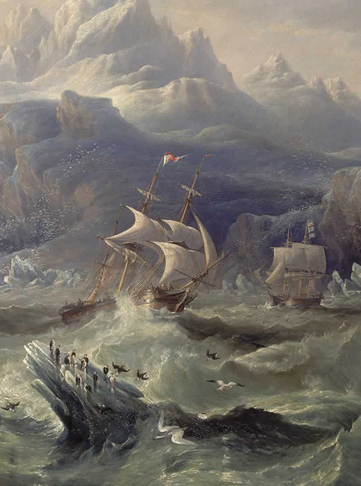 Image of the painting HMS Erebus and Terror in the Antarctic by John Wilson Carmichael